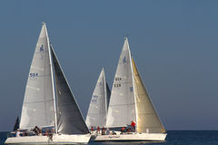 Sailboat Race, Santa Barbara, CA. Sailboats race in Santa Barbara called, Wet Wednesday the race starts in March and ends October 15th. This image was taken 9/10 Royalty Free Stock Photos