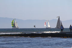 Sailboats, Santa Barbara, CA. Sailboats race in Santa Barbara called, Wet Wednesday the race starts in March and ends October 15th. This image was taken 9/10/ Stock Images
