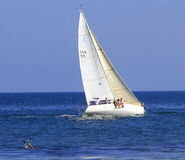 Sailboat Race. Santa Barbara, California August 2014 sailboats in race called Wet Wednesday, this event starts March and goes through October 15th, sixty boats Royalty Free Stock Image