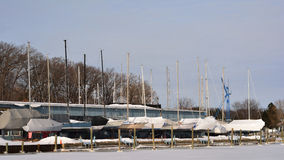 Sailboats Winterized Dry Dock Stock Photos