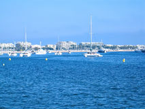 Sailboats, yacht and buildings Stock Image