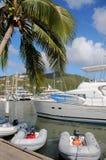 Sailboats and yacht docked Stock Image