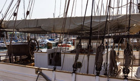 Sailboats in yacht port Stock Images