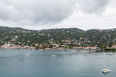 Sailboats and Yachts in Bay off St Thomas Stock Photos