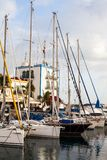Sailboats and yachts in harbor in Puerto de Mogan, Gran Canaria, royalty free stock photography