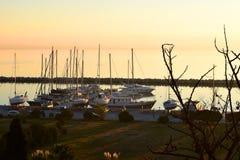 View from above of sunset at the marina of Nea Krini, Kalamaria district, Thessaloniki, Greece. royalty free stock photos