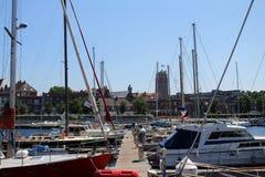 Sailboats and yachts moored at the marina of Dunkirk royalty free stock photo