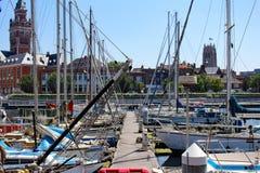 Sailboats and yachts moored at the marina of Dunkirk stock photography