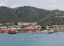 Sailboats and Yachts at St Thomas Stock Photography