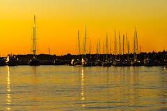 Sailboats in Zadar harbor, Croatia. Sailboats in Zadar harbor at the sunset, Croatia Stock Photo