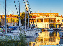 Sailboats in Zadar harbor at the sunset Stock Photo
