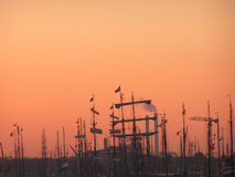 Sailboatshow at dawn. Sailboatshow in Amsterdam by night Royalty Free Stock Photo