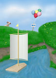 Sailbration 3A1. Illustration of toy sailboat in stream, with puppy, balloons, and arrow sign on grassy hill Royalty Free Stock Photos