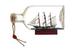 Sailcloth ship in bottle. Sailcloth ship in closed with cork bottle Stock Photos