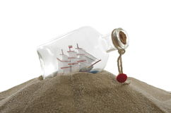 Sailcloth ship in bottle. Sailcloth ship in closed with cork bottle Royalty Free Stock Images
