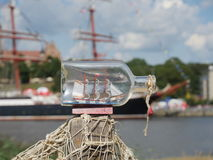 Sailcloth ship in bottle Stock Image