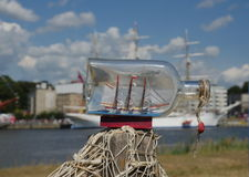 Sailcloth ship in bottle Royalty Free Stock Photo