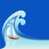 Sailer和波浪 免版税图库摄影