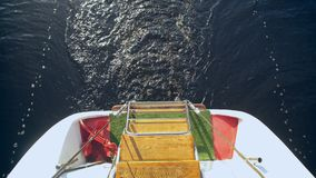 Sailer sailing river or sea waves. Water stream after speed boat. ship goes on the high seas stock video