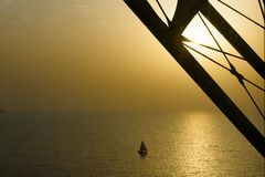 Sailer under pillar of Burj al Arab, Dubai Stock Images