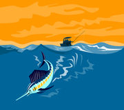 Sailfish diving with boat in b Royalty Free Stock Photos