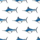 Картина вычерченного вектора руки конспекта характера sailfish Марлина безшовная Упрощенная иллюстрация цвета Океан и море иллюстрация штока