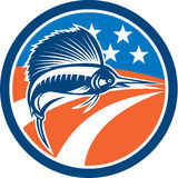 Sailfish Fish Jumping American Flag Circle Retro. Illustration of a sailfish fish jumping viewed from the side with american stars and stripes flag in the Stock Photos