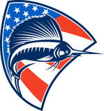 Sailfish Fish Jumping American Flag Shield Retro. Illustration of a sailfish fish jumping with American stars and stripes flag in background set inside shield Royalty Free Stock Photos