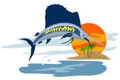 Sailfish jumping in the sunset Royalty Free Stock Image