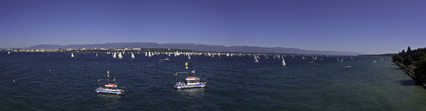 Sailign race on Lake Geneva in Switzerland Stock Photography