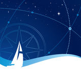 Sailing. A boat under the stars and cross routes Royalty Free Stock Image
