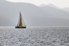 Sailing. Boat at Mediterranean Sea royalty free stock image