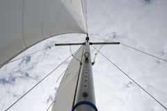 Sailing. View from the bottom of the mast of a sailing yacht to the top Stock Images