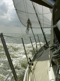 Sailing. Boat on open water Royalty Free Stock Images