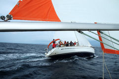 Sailing. Team on a sailing cruise on Adriatic sea, viewed from another sailing ship Stock Images