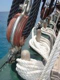 Sailing. Closeup of ropes on a old sailing boat Stock Photography