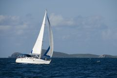 Sailing. A sailboat in the Caribbean stock photo
