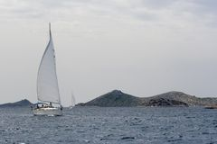 Sailing. Boat, almost only transportation option  in Kornati national park in Croatia Royalty Free Stock Photo