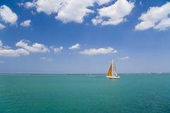 Sailing. Sail boat on Lake Michigan, Chicago Stock Photo