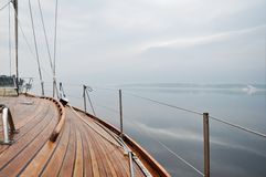 Sailing. In a yacht on cloudy day Royalty Free Stock Image
