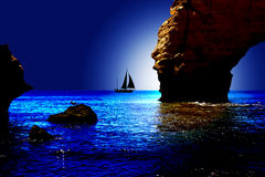 Sailing. Coast view with a boot and moonlight Stock Images
