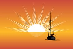Sailing. Sailboat sailing off into the sun royalty free illustration
