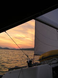 Sailing. In sunset Royalty Free Stock Photography