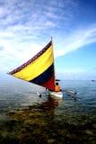 Sailing. Sailboat on a coral and seaweed lagoon Stock Image
