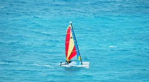 Sailing. In the ocean in cancun stock photo