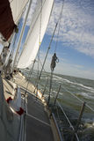 Sailing. On open water with blue sky Royalty Free Stock Photography