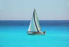 Sailing. In the blue Mediterranean stock image