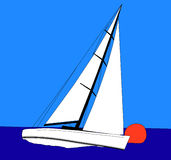 Sailing. Sail boat sailing on a match race Stock Photo
