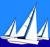 Sailing. 3 sail boats sailing, illustration Royalty Free Stock Photography