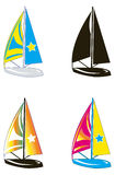 Sailing. Illustration representing four boats sailing in different versions of color Stock Image